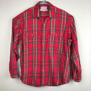 Columbia Woven Plaid Button Up Shirt with Pockets